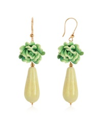 House Of Murano Green Rose Murano Glass Drop Earrings