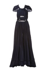 Zac Posen Ruched Novelty Cotton Cap Sleeve Gown Navy