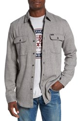 Brixton Men's 'Bowery' Twill Flannel Shirt Grey