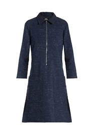 A.P.C. Zira Cotton And Linen Blend Dress Navy