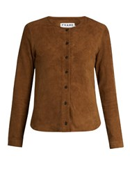 Frame Feather Weight Collarless Suede Shirt Camel