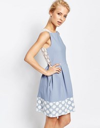 Closet Box Pleat Dress With Spotted Lace Hem Pale Blue