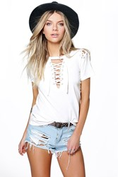 Boohoo Lace Up Neck Shoulder Tee White