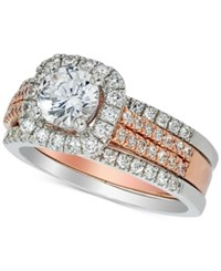 Macy's Diamond Halo Bridal Set 1 5 8 Ct. T.W. In 14K White And Rose Gold Two Tone