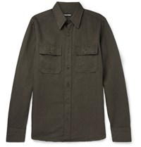 Tom Ford Slim Fit Linen And Cotton Blend Shirt Dark Green