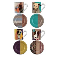 Magpie Poochies Espresso Cup And Saucer Set Of 4