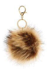 Women's Robert Rose Faux Fur Pompom Bag Charm Beige Natural Gold