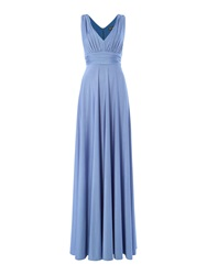 Biba Deep V Full Skirted Maxi Dress Pastel Blue