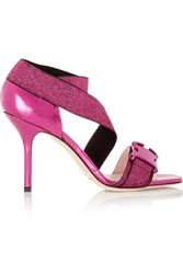Christopher Kane Buckled Metallic Elastic And Leather Sandals