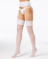 Berkshire Sheer Lace Garter And Stockings Hosiery 4909 White