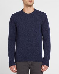Hackett Mottled Navy Round Neck Woollen Sweater With Blue Elbow Patches