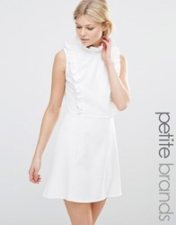 Alter Petite Dress With High Neck And Ruffle Detail Cream