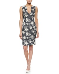L'agence Sleeveless Palm Tree Print Shift Dress Linen Palm Mdnght