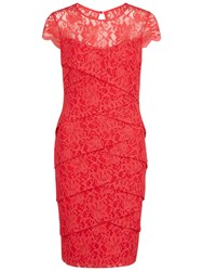 Gina Bacconi Antique Lace Layered Dress Coral