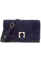 Halston Suede And Glossed Leather Clutch Blue