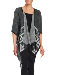 Sam Edelman Fringed Tribal Open Front Shawl Sweater Black