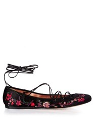 Etro Cora Embroidered Satin Pumps Black