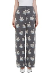 Stella Mccartney Swan Intarsia Knit Wide Leg Pants Grey