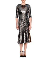 Dolce And Gabbana Sequined Half Sleeve Midi Dress Pewter Gold Silver Gold