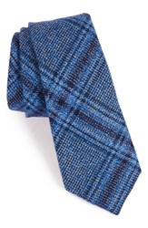 Alexander Olch Men's 'The Glenn' Plaid Textured Wool Tie Light Blue
