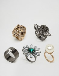 Asos Statement Lion And Bug Ring Pack Multi