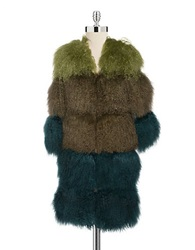 Anna Sui Colorblocked Mongolian Lamb Fur Coat Avocado Multi