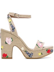 Tabitha Simmons Embroidered 'Calla' Sandals Nude And Neutrals