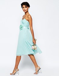 Asos Wedding Chiffon Midi Bandeau Dress With Detachable Corsage Belt Blue
