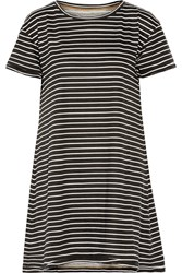 Current Elliott The Knit Tee Striped Cotton Mini Dress Black