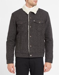 Levi's Flecked Charcoal Trucker Jacket With Sherpa Lining Grey