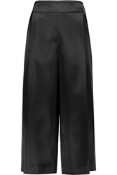 Jonathan Simkhai Pleated Satin Culottes Black