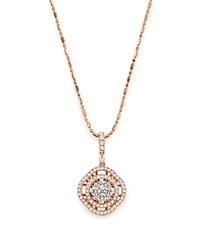 Bloomingdale's Diamond Pave Circle Pendant Necklace In 14K Rose Gold .55 Ct. T.W. White Rose