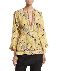 Isabel Marant 3 4 Sleeve Embroidered Tunic Blouse Light Yellow Women's