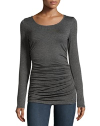 Max Studio Ruched Long Sleeve Jersey Tee Charcoal