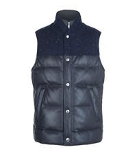 Brunello Cucinelli Leather Marl Yoke Gilet Male Navy