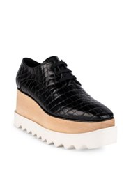 Stella Mccartney Elyse Croc Embossed Platform Oxfords Black
