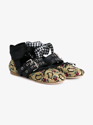 Miu Miu Floral Brocade Leather Ballerina Flats Multi Coloured Black Silver Denim