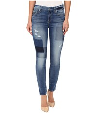 7 For All Mankind Ankle Skinny W Clean Patches In Light Patched Denim Light Patched Denim Women's Jeans Blue