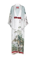 For Restless Sleepers Edone Printed Long Coat White Green Red