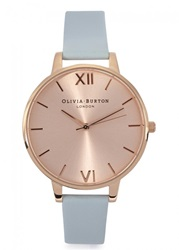 Womens Watches Olivia Burton Big Dial Blue Rose Gold Plated Watch Light Blue