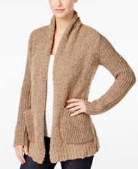 G.H. Bass And Co. Mixed Knit Boucle Cardigan Dark Sand Combo