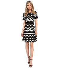 Nicole Miller Aztec Lulu Fit And Flare Black White Women's Dress
