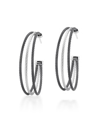 Alor Stainless Steel Cable Three Row Hoop Earrings Gray Black