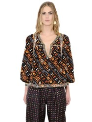 Isabel Marant Embroidered And Printed Silk Twill Shirt