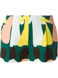 L'autre Chose Abstract Print Shorts Green