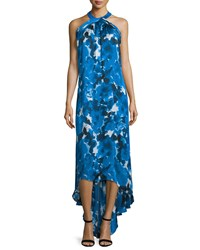 Theia Sleeveless Floral Print High Low Gown Royal