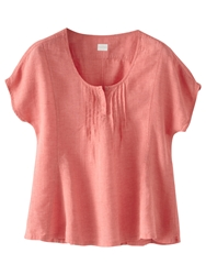 Poetry Linen Short Sleeved Top Coral