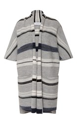 Derek Lam 10 Crosby Menswear Blanket Stripe Short Sleeve Cardigan Light Grey