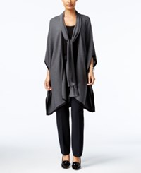 August Silk Tie Neck Poncho Cardigan Charcoal