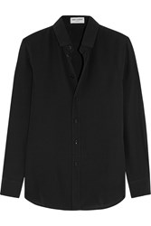 Saint Laurent Silk Crepe De Chine Shirt Black